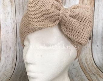 Big Bow Headband, Knit Headband with Bow, Bow Headband, Adult Headband, Cheerleaders Bow, Big Hair Bow, Headband, School Spirit Bow