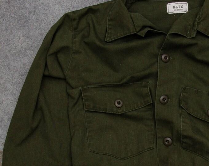 Green Army Jacket Vintage Grunge Size XL Button Down Vietnam Era 1970s Mens Womens Unisex 7W