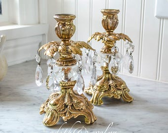 Vintage Pr Hollywood Regency Candle Holders, Brass with Crystal Prisms