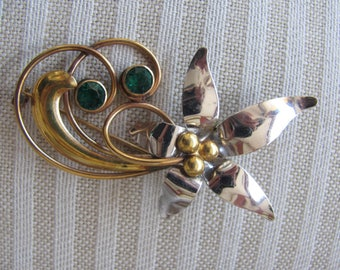 Vintage Gold Filled Brooch, Stylized Floral Pin, Designer Signed, Carl Art, GF 1960s, Paisley swirl
