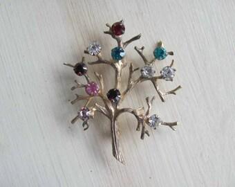 Sterling Tree Brooch, Tree of Life Pin, Vintage Rhinestone, Vermeil