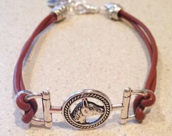 Horse Bit Bracelet Brown Leather Snaffle Bit Bracelet horseshoe charm