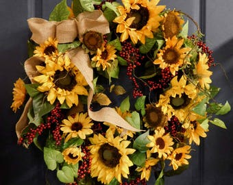 Summer Wreath , Spring Wreath ,Door Wreath , Wreath , Summer Door Wreath , Sunflower Wreath , Spring Door Wreath , Front Door Wreath