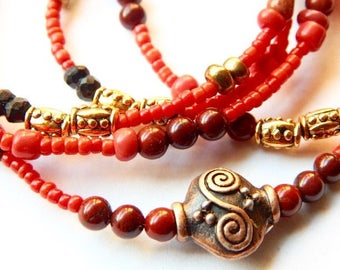 Pregnancy Waist Beads, Red Jasper 'Kundalini Rising' Waist Beads, Mother-To-Be Waist Beads , Spiritual Waist Beads, African Waist Beads