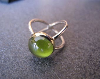 Peridot  Sterling Silver and 8 carats Gold Ring