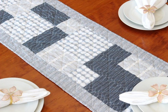 Modern Gray Quilted Table Runner