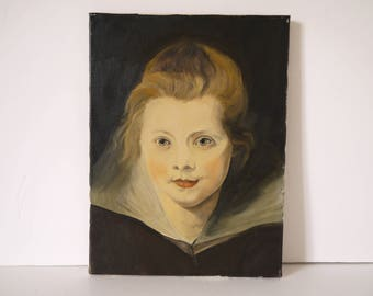 French oil portrait panting of a young women