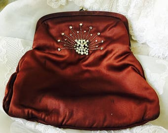 NEW - Vintage Brown Satin Clutch with Crystals