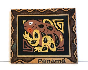 Vintage framed Panama Kuna Mola - frog, in hand made wood frame