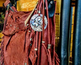 Handcrafted Leather BOHOIndi Messenger BAGS Using Antique Vintage Hardwear Old Style Western Cowgirl bag's Steam punk Made In USA.