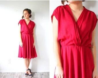 20% OFF JULY 4th SALE Vintage Medium/ Large short sleeve pink dress // boho summer spring dress // 1960's bright red maroon dress // boho pi