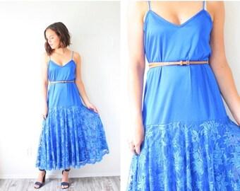 30% OFF SALE Vintage blue dress // boho night gown dress // simple lace bottom dress // elegant formal dress lace blue dress // bright blue