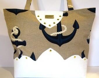 white faux leather nautical tote bag