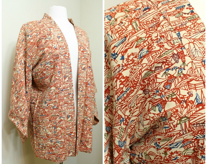 Japanese Haori Jacket. Bingata Silk Coat Worn Over Kimono. Hand Painted Fall Colors (Ref: 1803)