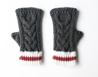 Sock Monkey Gloves, Sock Monkey  Glove, Fingerless Glove, Gauntlet, Elbow Length Glove, Fingerless Mitten, Knit Glove, Knit Fingerless Glove