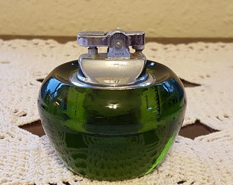Lovely HEAVY and Solid Dark Emerald Green Glass Table Lighter for Cigarette, Cigar, etc.