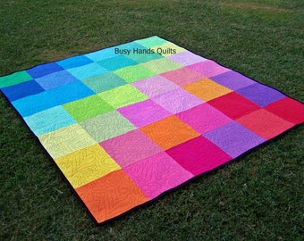 Ready to Ship, Picnic Blanket, Handmade, Rainbow, Modern Quilt, Quilts For Sale, Busy Hands Quilts