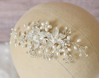 Rhinestone Bridal Comb, Pearls and Rhinestones Hair Comb, Floral Hair Comb, Silver Bridal Comb, Hair Adornment, Wedding Hair, Beach Wedding