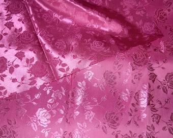 Rose Satin Jacquard fabric in Fuchsia