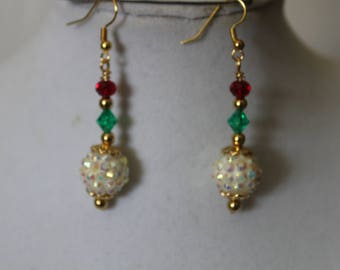 Gold Plated Irridecent Dangle Christmas Earrings
