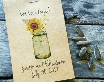 Rustic Yellow Sunflowers Mason Jar Let Love Grow Flower Seed Packet Favor Shabby Chic Cute Favors for Bridal Shower Wedding Anniversary