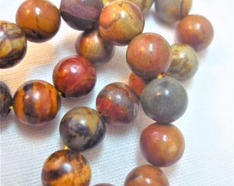 Set of 6 natural 10mm stone beads