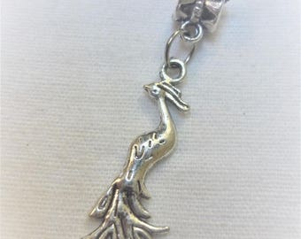 Pretty Peacock silver metal bail with charm