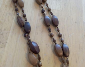 Vintage necklace wood beads and brass
