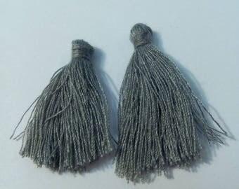 2 gray 3cm tassels