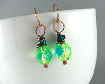 Wire Wrapped Earrings Chrysocolla Earrings Copper Earrings Wire Wrapped Jewelry Copper Wire Earrings Boho Jewelry