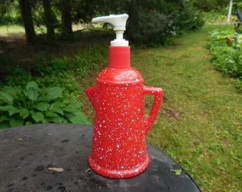 Vintage 1970s Red and White Speckled AVON Country Style Coffee Pot Lotion Dispenser/Bottle Glass Kitchen Decor Retro