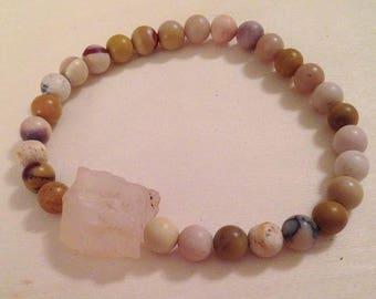 Gemstone beaded bracelet, agate, moonkaite, unakite, stacking bracelet