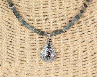 Natural Aquamarine necklace, sky blue necklace, beaded necklace, gift for her, dainty necklace, locket necklace