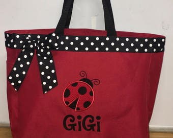 Personalized Girl Ladybug Tote Bag Baby Diaper Bag
