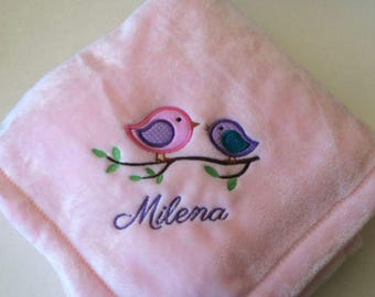 Personalized Embroidered Cute Little Spring Birds Baby Blanket