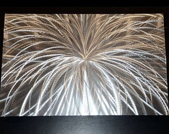 """SALE 70% OFF Metal Art Modern LED Halogen colour Light reflect no Painting Abstract Sculpture Modern Silver Decor Source of love 36x24"""" by L"""
