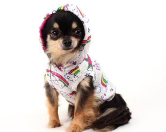 Dog Clothes Rainbow Hoodie for Dogs cute lightweight sweater Clothes for Pets