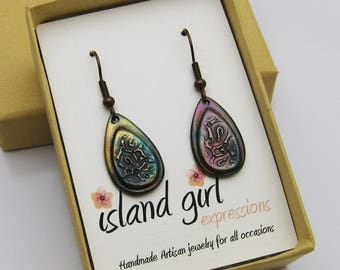 Handmade Copper Earrings, Copper with Heat Patina, Colorful Copper Earrings, Paisley Earrings, Rainbow Earrings, Teardrop Dangle Earrings