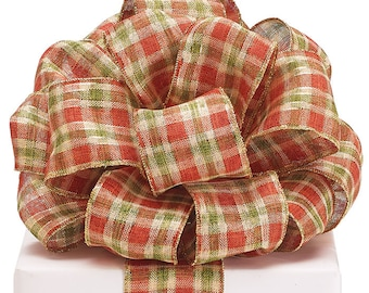 "Ribbon by the yard, Wired 2.5"" Plaid, orange, green,cream, Fall, Thanksgiving, Crafts, Wreath making, Arrangement, Scrap-booking, Gifts"