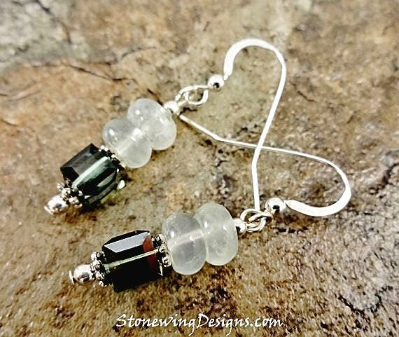 Prehnite Rondelle and Swarovski Crystal Cube Earrings
