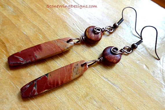 Red Creek Jasper, Rustic Boho Earrings, Designer Stone, Rustic Earrings, Long Stone Earrings, Wire Wrap Earrings, Natural Stone,