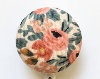 Rifle Paper Co - Vintage Floral - Rosa Peach - Badge Reel - Name Badge - Retractable ID Reel - Belt Clip - Nurse Gift - Fabric Badge Reel