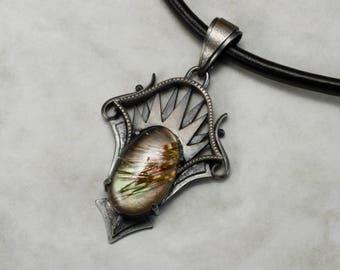 Rutilated quartz pendant necklace, goth pendant necklace, Art Deco pendant necklace, oxidized silver pendant necklace, iridescent pendant