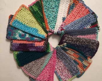 Four Large dish cloths made with 100% cotton yarn multicolored hodgepodge