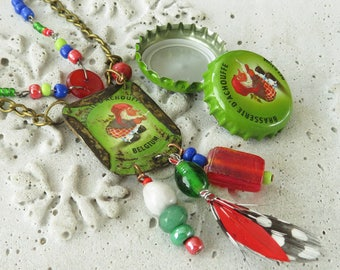Green and red recycled La Chouffe bottle cap necklace