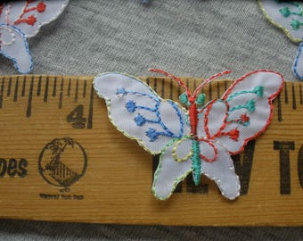 """Little Fusible Butterfly Appliques Embroidered iron-on patches 1"""" by 1 9/16"""" Embellish T-shirt quilt bag rainbow thread butterflies"""
