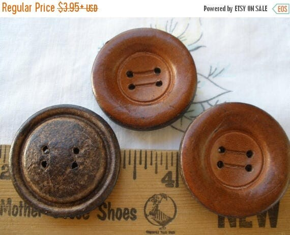 Italian Brown Leather coat Buttons 52L 33MM 4 hole sew on concave ...