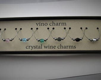 8 crystal wine charms | gift box | gunmetal wine glass charms - unique wine gift - wine tasting gift - wine lover gift - wine marker NPC8-2