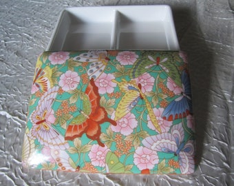 Neiman Marcus Butterfly Porcelain Glass Box Playing Card Holder Jewelry Keepsake Trinket Stash Container Storage