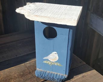 Blue birdhouse,modern garden decor,rustic birdhouse,outdoor birdhouse,garden decor,bird,hand crafted birdhouse,small bird house,cottage chic